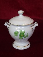 Aquincumi porcelán szószos edény, zöld virágmintával, dúsan aranyozott, vitrin minőség.