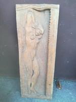 Női akt fafaragás szobor fali dísztárgy