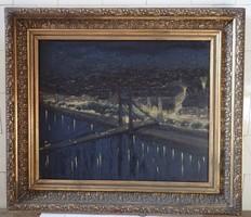 Budai Fischer Edwin Ödön (1887–1945): Budapest látképe éjjel, a régi Erzsébet-híddal, 1933