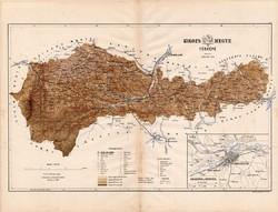 Kolozs megye térkép 1886 (4), vármegye, atlasz, eredeti, Kogutowicz, Kolozsvár, Bánffyhunyad, 43x56