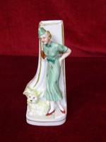 W & A bertram antik német porcelán váza női alakkal és kutyával, ritka gyűjtői darab.