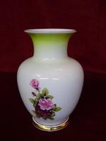 Hollóházi porcelán váza, rózsa mintával, 15 cm. magas.