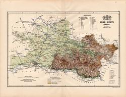 Arad megye térkép 1888 (4), Magyarország, vármegye, atlasz, eredeti, Kogutowicz Manó, 43 x 56 cm