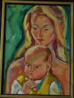 Józsa János festőművész Anya gyermekével
