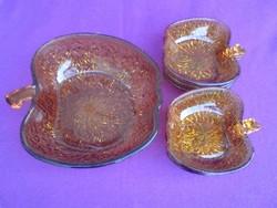 Bronz színű alma formájú üveg kompotós készlet