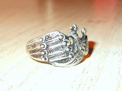 Régi Páva mint.Tibeti ezüst ötvös gyűrű 7.5-es