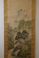 Hegyi templom darvakkal - Japán akvarell festmény falitekercs