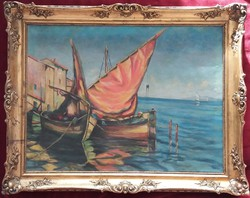 Tengeri kikötő, vitorlás hajók, olajfestmény