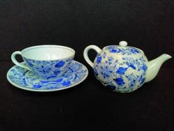 Régi,kínai, porceán teáskanna csészével és aljjal