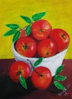 Csendélet almákkal című festményem akril festékkel készült festített vászonra.A kép mérete 40 x 30cm