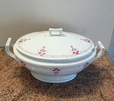 Zsolnay antik Lukafai porcelán levesestál fedővel leveses tál