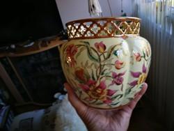 Zsolnay orchidea mintás porcelán nagy áttört kaspó
