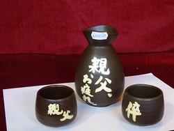 Japán szaké pálinkás készlet. Három darabos, egy kiöntő, két csésze.