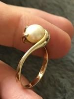 Lenyűgöző 14k arany 585 igazgyöngy formatervezett gyűrű 54-es