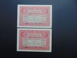 2 darab 2 korona 1917 Sorszámkövető Hajtatlan bankjegyek !