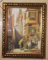 Rudolf Weber : Bécs.Olaj,karton. Mérete:33x25 cm.Eredeti antik keretében.