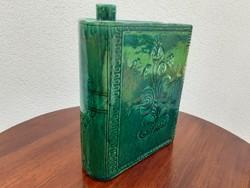 Régi mázas kerámia népi kulacs feliratos pálinkás butella könyv alakú kiöntő