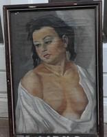 ÁLDOR JÁNOS LÁSZLÓ : Női akt - antik olaj / vászon festmény