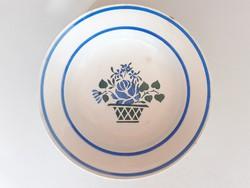 Régi népi dísztányér virágkosaras falitányér Wilhelmsburg tányér