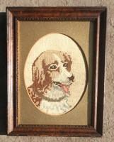 2 db Antik selyem tü gobelin kézimunka Kutya cica