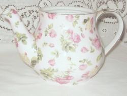 Halvány rózsaszín alapon sok sok rózsás öblös teáskanna tető nélkül