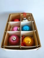 Retro,vintage,üveg festett 6db karácsonyfadísz eredeti dobozában