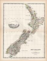 Új - Zéland térkép 1883, eredeti, atlasz, Keith Johnston, angol, 36 x 47 cm, Óceánia, sziget, hegy