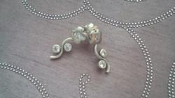 Button virág ezüst fülbevaló