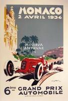 Monaco Grand Prix 1934 autóverseny reklám oldtimer automobil, Geo Ham. Vintage/antik plakát reprint