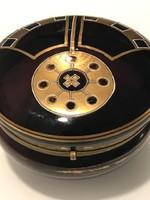 Art deco bonbonier mélylila színben, dús aranyozással, 14 cm átmérő!