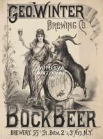 Bock Beer Brewery sör reklám, női alak, hordó, kecskebak, grafit c.1900 Vintage/antik plakát reprint