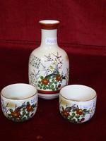 Japán kézzel festett szakés készlet, kiöntő + két csésze.