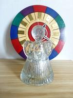 Retro,vintage üveg angyal figura,mécses tartó