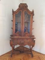 GYŰJTŐI RITKASÁG! Gyönyörű korabeli bécsi barokk vitrin , vitrines szekrény