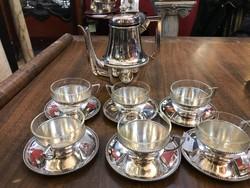 Ezüst 6 személyes  kávés készlet