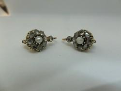 Gyémántos - gyöngyös antik arany fülbevaló pár