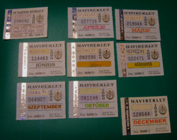 BKV bérlet szelvény 2000 - 8 +1 db