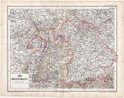 Dél - Németország térkép 1870, eredeti, német nyelvű, Kozenn, atlas, régi, Európa, XIX. század