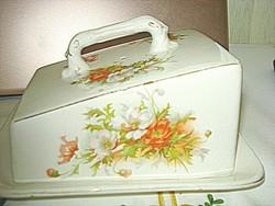 Gyönyörű porcelán sajttároló, vajtartó, kínáló dúsan festett pipacs mintával