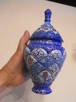 Zománcozott,kézifestésű réz fedeles váza