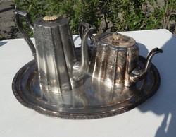 Viktoriánus korabeli Angol ezüstözött teás és kávés kiöntő tálcával