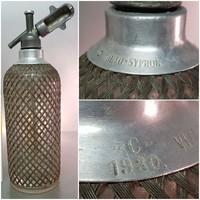 """""""Auto-Syphon Sparklet Patent C 1930"""" fém védőhálós szódásüveg (878)"""