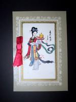 Régi kínai kézzel festett selyemkép dombornyomott papír keretben