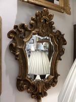 Antik aranyozott faragott fa fali tükör