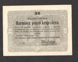 """Harmincz pengő krajczárra 1849.  """"d. qd."""" betűjeles!!  GYÖNYÖRŰ!!"""