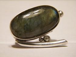 Nagy zöld köves (labradorit) designer gyűrű ezüst vagy ezüstözött