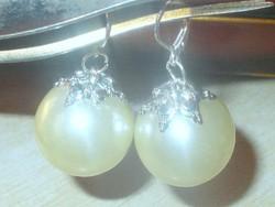 Álomszép! Krémszínű Óriás Gyöngy 925 ezüst Iparművész Fülbevaló
