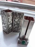 Antik,kézzel vésett, ezüst ritka rúzstok - art deco