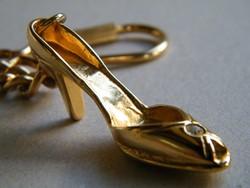 Aranyazott kis női cipő kulcstartó