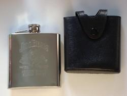 Gravírozható Jim Beam feliratú ital flaska bőrtokban
